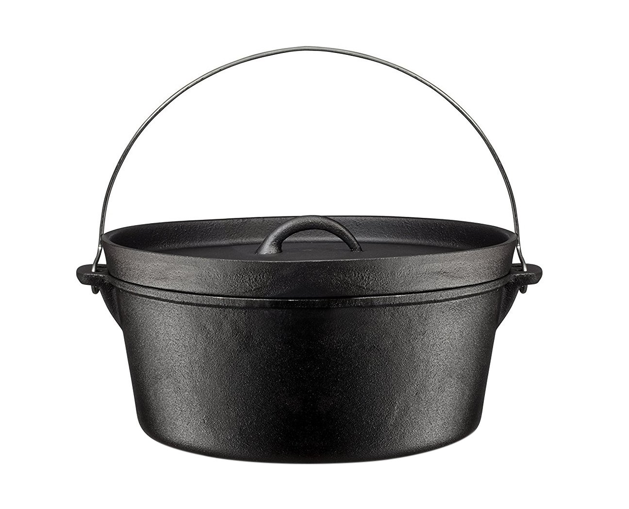 Bruntmor Pre-Seasoned Cast Iron Dutch Oven with Flanged Lid Iron Cover, for Campfire or Fireplace Cooking, Flat Bottom 8 Quart