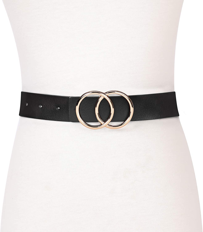 Fashion Designer Belts für Women Leather Belts für Jeans Dress Pants mit Gold Double O-Ring Buckle