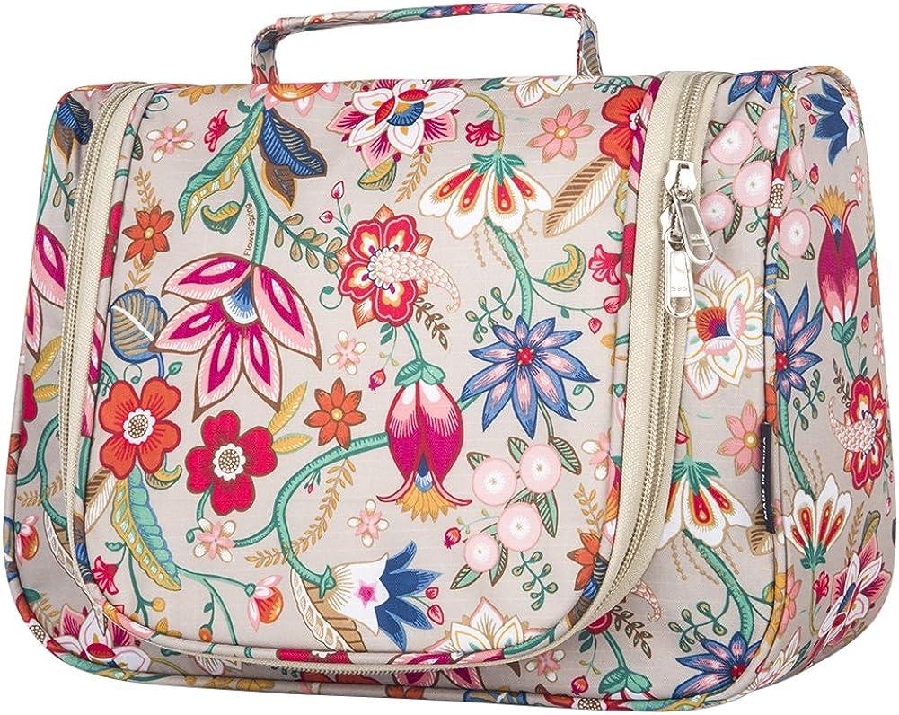 Cosmetic Bag, Cosmetic Organizer, Yeiotsy Retro Flower Hanging Travel Toiletry Bag Women Makeup Organizer