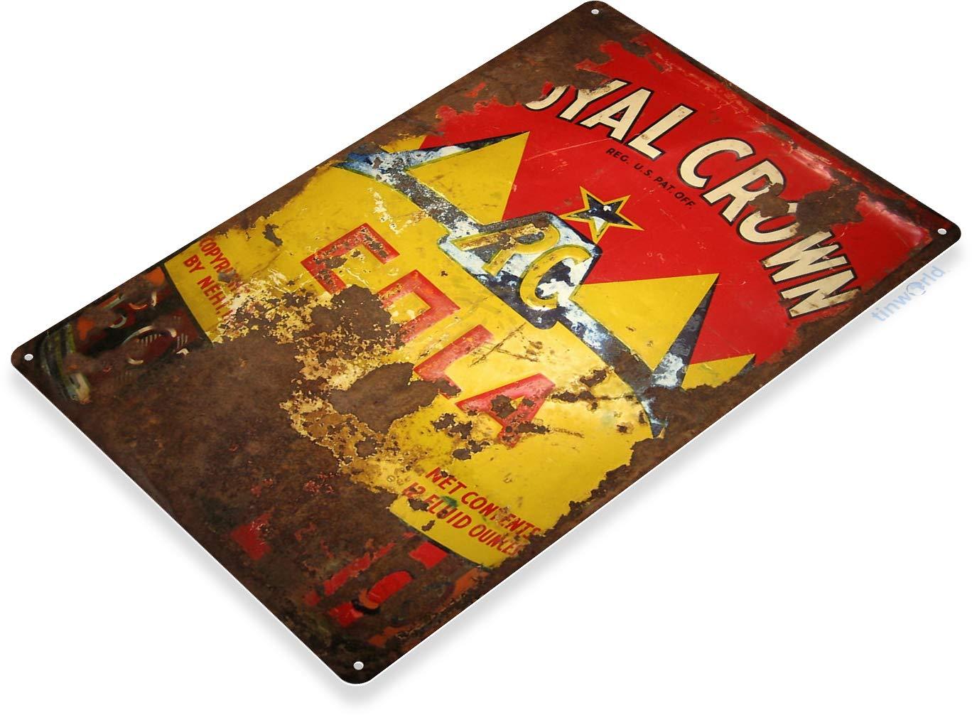 "TIN SIGN /""Royal Crown Cola Rust/"" Soda Pop Kitchen Wall Decor"