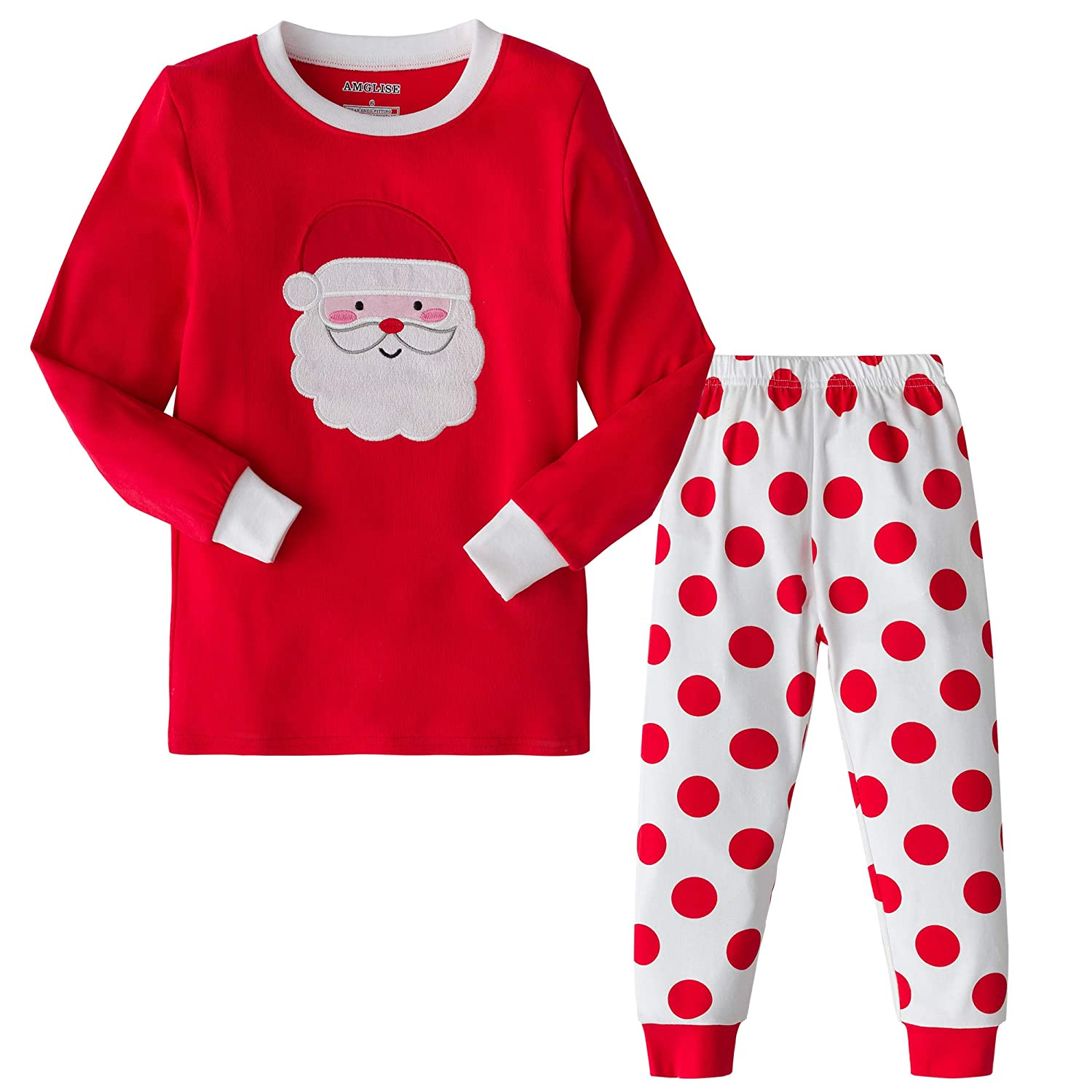 AMGLISE Christmas Pajamas Set Santa Claus Cotton Pajamas for Boys Girls Kids Pjs Toddler Sleepwear