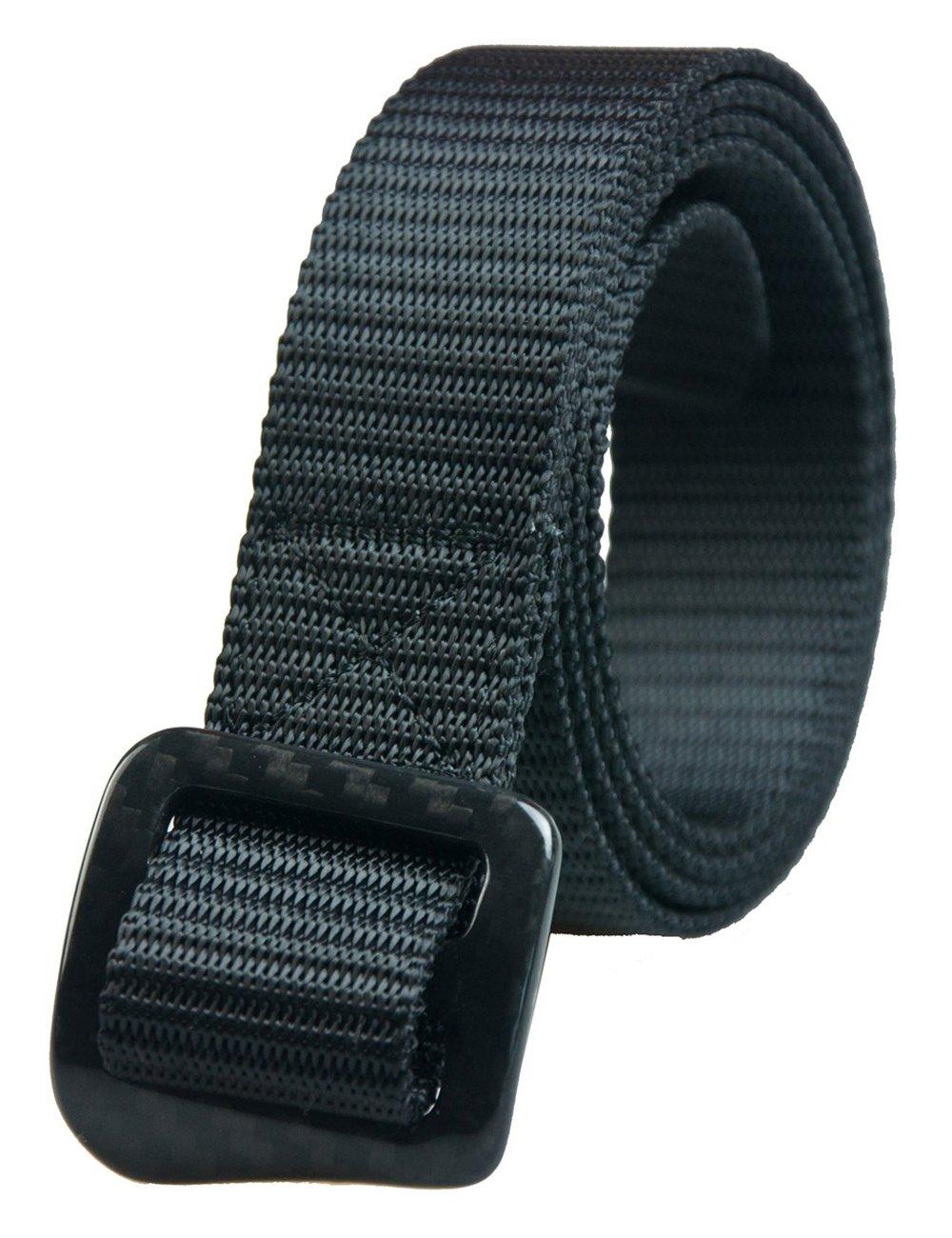 RockWay Ourdoor Narrow Nylon with Carbon Fiber Adjustable Buckle Unisex Riding Belt (Black) (Medium)