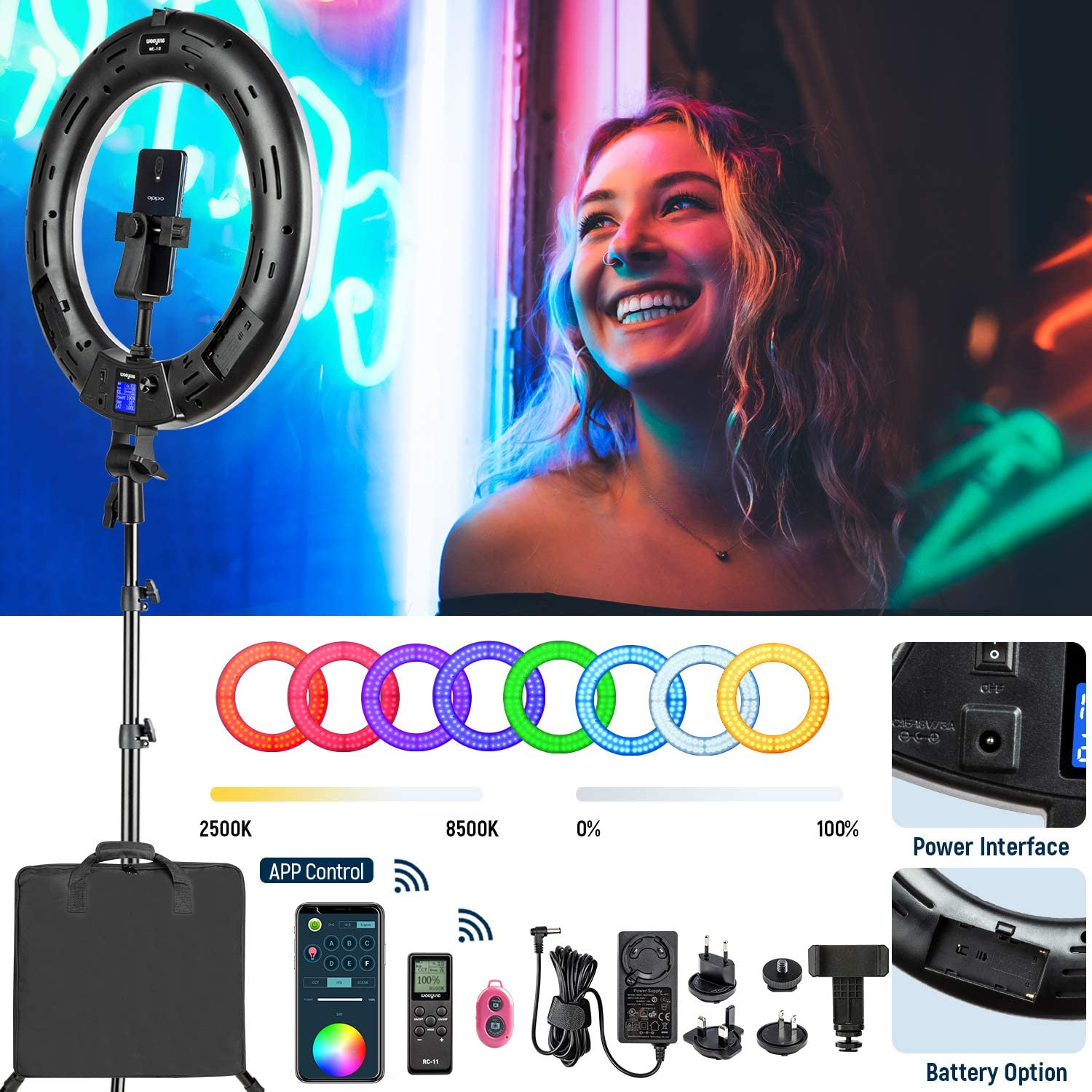 """18"""" RGB Ring Light kit with Stand, 18"""" 2500K-8500K LED Dimmable Circle Ring Light for Photography Video YouTube Vimeo Portrait Lighting Live Streaming"""