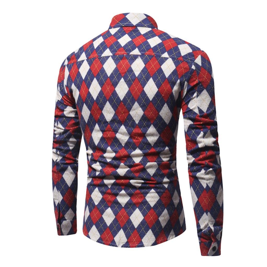 Mens Retro Print Lattice Slim Fit Long Sleeve Casual Button Shirt Allywit Men Shirt