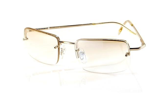 132cef3a956 Amazon.com  FBL Minimalist Small Rectangular Sunglasses Clear Eyewear  Spring Hinge A124 A125 ((Clear) Silver Frame)  Clothing