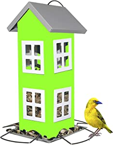 Sherwoodbase Ridge - Wild Bird House Feeder, Weatherproof Design for Easy Cleaning & Refills, Comes with Hook to Hang on Tree, Poles in Backyard Garden, Patio; Gift idea for Parents (Green)