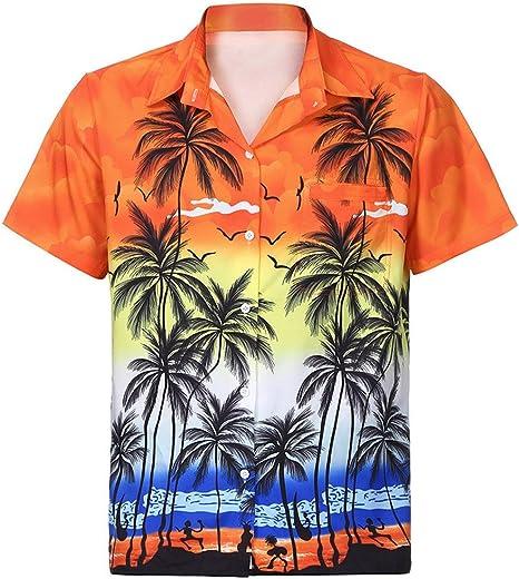 Moda Camiseta Hombre Manga Corto, Tops Hombres Camisa Hawaiana para Hombre Camiseta De Manga Corta con Bolsillo En La Playa Blusa Estampada Floral Top: Amazon.es: Ropa y accesorios
