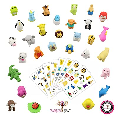 Hamdol Premium 30 Animal Collectible Set of Adorable Japanese Style Novelty Erasers - Amazing Variety with No Duplicates - Puzzle Toys Best for Party Favors W/ Bonus 120 Collectible Animal Stickers: Toys & Games