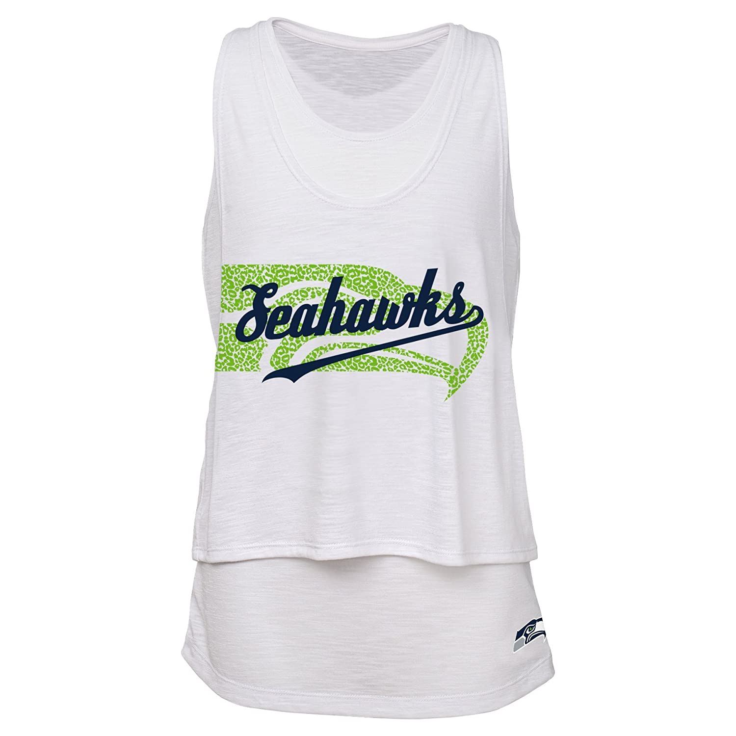 Outerstuff NFL Junior Girls Double Tier Layered Tank Top Seattle Seahawks 15-17 XL White