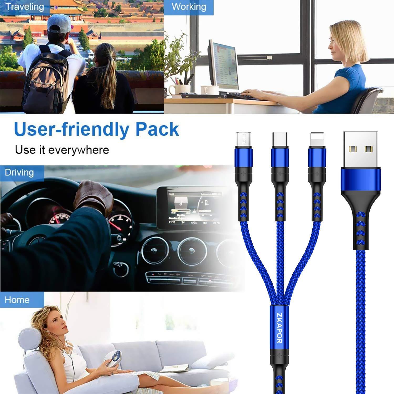 3 en 1 Multi Chargeur USB C/âble en Nylon Tress/é avec Micro USB Type C Connecteurs pour Samsung Galaxy S10//S9//S8,Huawei p30//P20,Honor,Xiaomi,OnePlus,Wiko,Kindle 1.2M ZKAPOR C/âble Multi USB