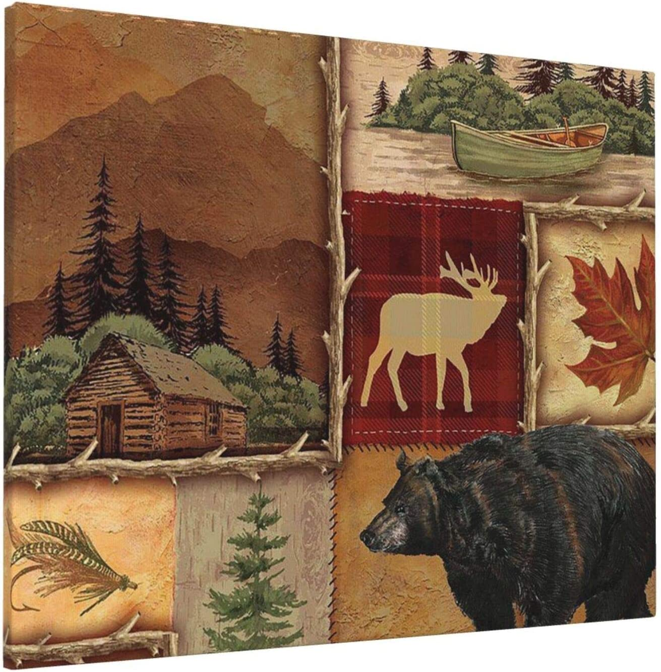 Canvas Wall Art,Lodge Style Northwoods Cabin Painting Home Artwork Print For Wall,Living Room,Bedroom,Kitchen,Office Decor,16x20 Inch