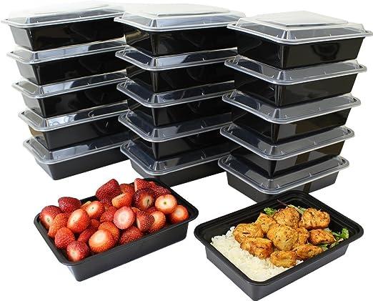 KAMIERFA Premium 1-compartment apilar comida Prep recipientes con ...
