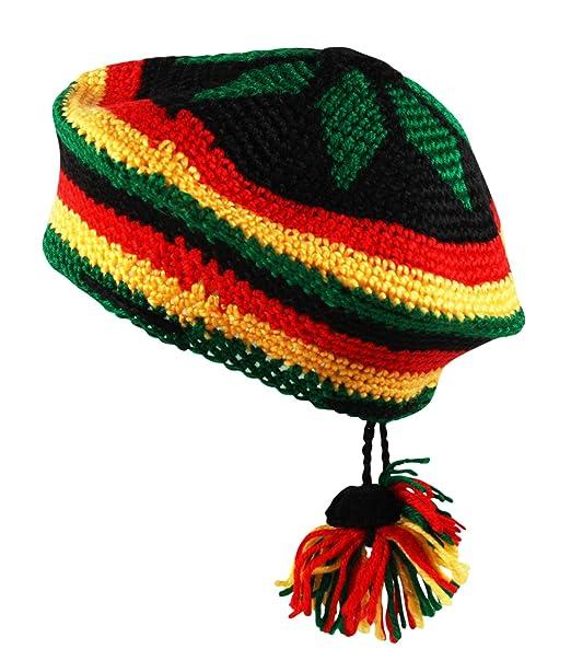 Crochet Knit Tam Rasta Reggae Beret Beanie Cap Hat Black Red Yellow