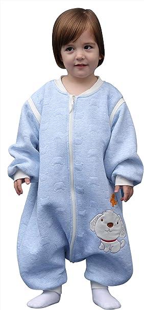 Happy Cherry - Bebé Mono Saco de Dormir con Pies Infantil Invierno Niño Niña Mameluco Algodón con Manga Larga Recién Nacidos Ropa de Dormir Pijama con Piernas Separados - 6-36 Meses: Amazon.es: