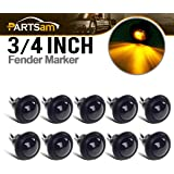 10x Truck Trailer Boat 3/4 Amber Round Led Light Marker Clearance + Grommet Smoked Lens
