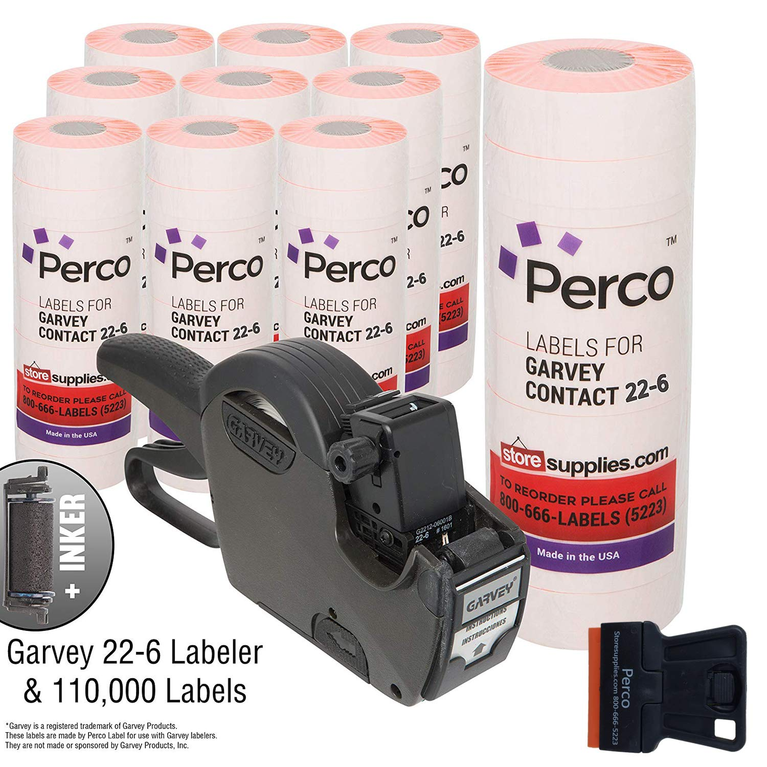 Garvey 22-6 Pricing Gun with Labels Value Pack: Includes Garvey 22-6 Price Gun, 110,000 Fluorescent Red Pricemarking Labels, 8 Bonus Inkers by Perco (Image #1)