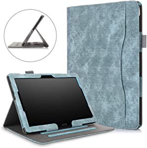 10.1 inch Tablet Case for Lenovo Tab P10 TB-X705F & Lenovo Tab M10 Case TB-X505F/TB-X605F,DETUOSI Multiple Viewing Angles Multifunctional Cover for Lenovo Tab M10/P10 10.1 with Hand Holder,Gray Blue