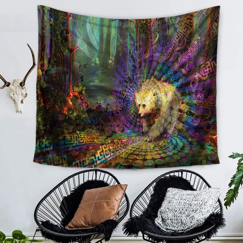 39x29 inch 100x75 CM Nunbee Hippie Arazzo Mandala Bohemian Psichedelico Intricato Indiano Copriletto Buddha e Lupo A