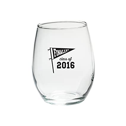 8b5f2a69887 Kate Aspen 30023NA-FIN Finally! Black Ink Class of 2016 Stemless Wine  Glasses (Set of 4), 15 oz, Clear