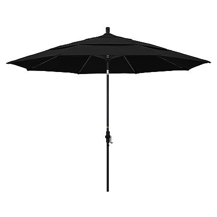 california umbrella 11 round aluminum market umbrella crank lift collar tilt black - Black Patio Umbrella