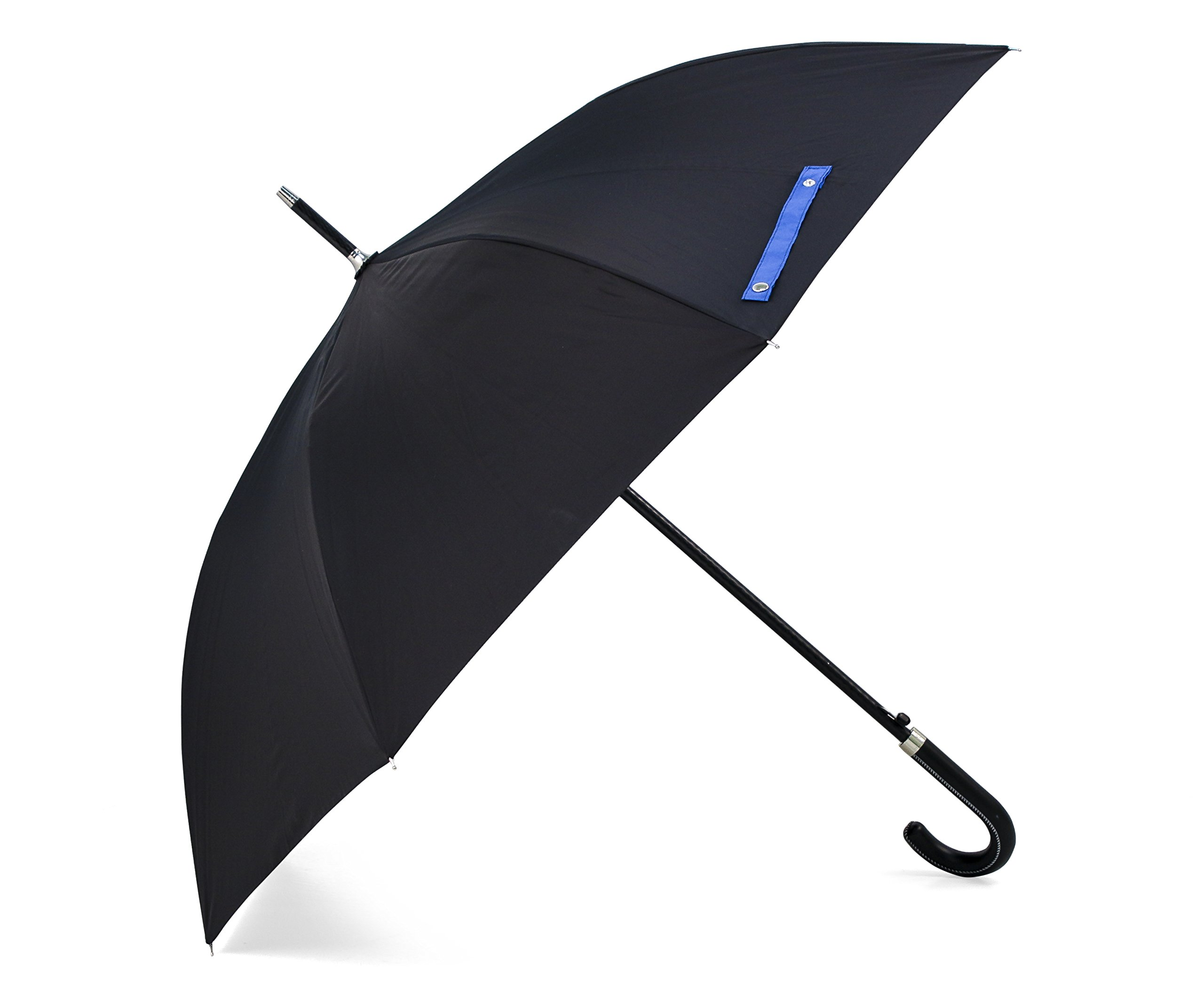 BlackAOG DESIGN Auto Open 100% Fiberglass Stick Umbrella with Stylish J-Hook Handle,Black,One Size