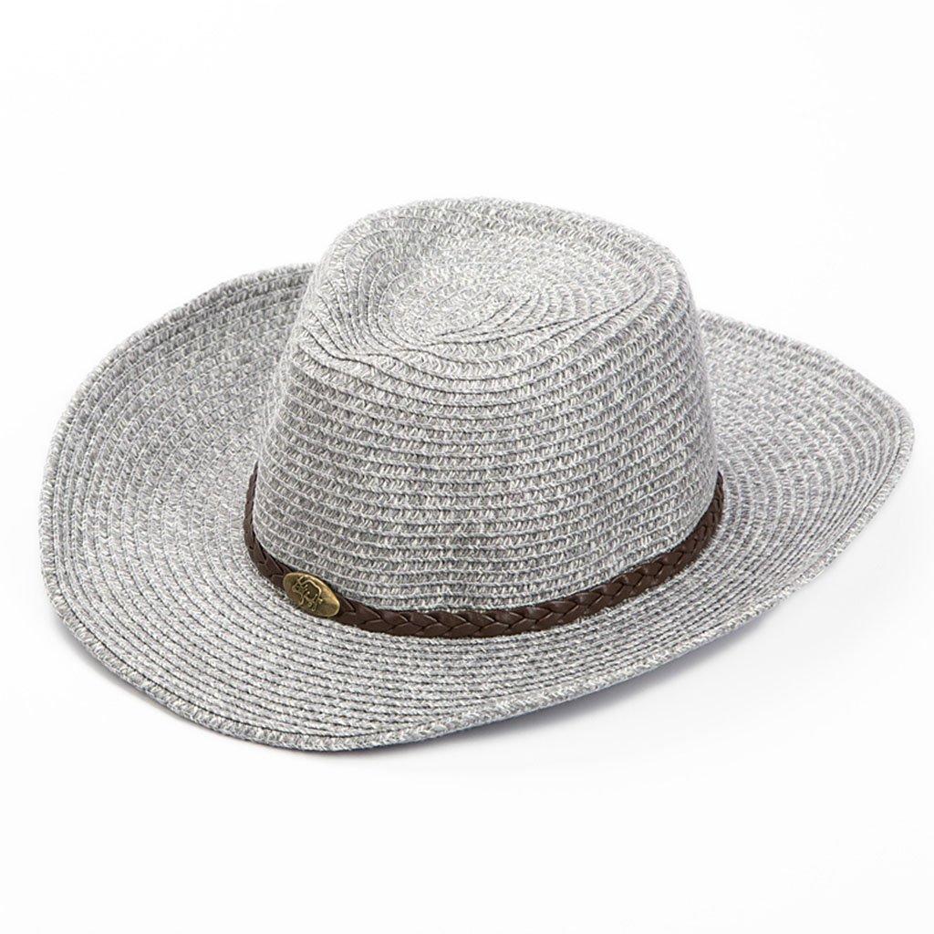 a90609c434d YNSHOP Cowboy Hats Men s Sun Hat Korean Cowboy Hat Travel Sun Hat Beach  Beach Hat Summer Straw Hat UV Protection Cap Sun Hat (Color   Gray)   Amazon.co.uk  ...