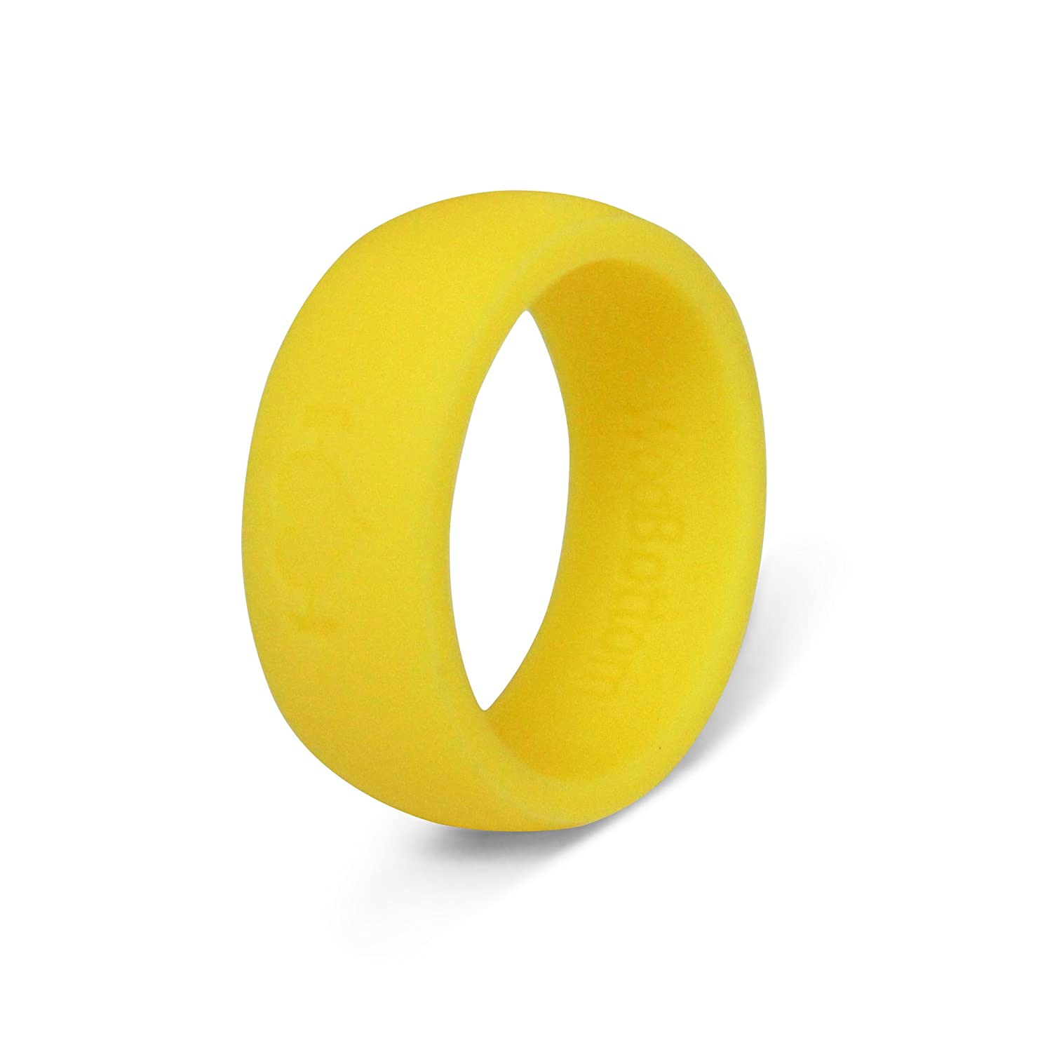 Neon Yellow Silicone Wedding Rings for Men Fitness Band Perfect for CrossFit