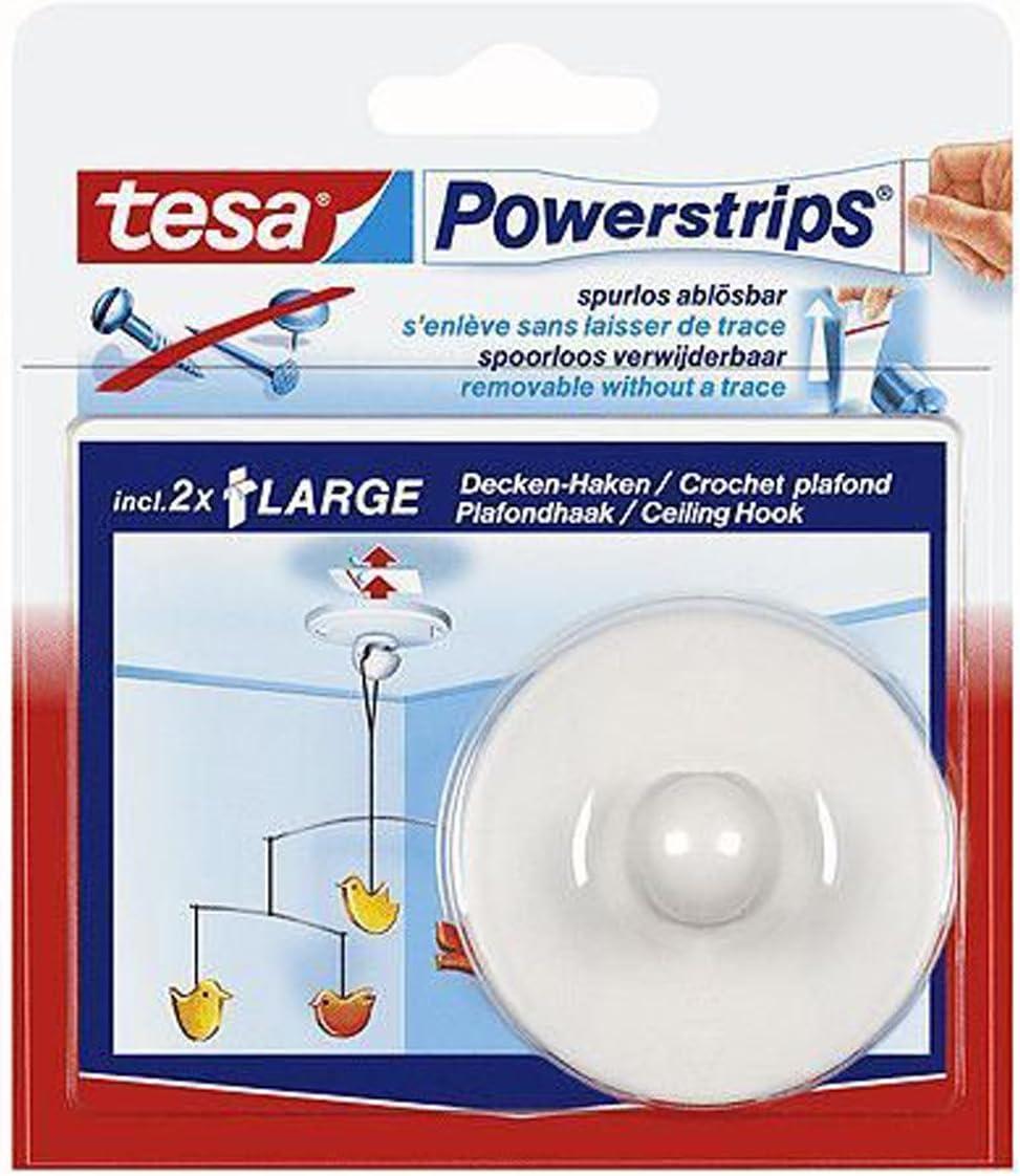 se puede retirar 1 Haken Tesa 1 Ganchos para el techo Powerstrips/® con cinta adhesiva hasta 0,5 kg autoadhesiva