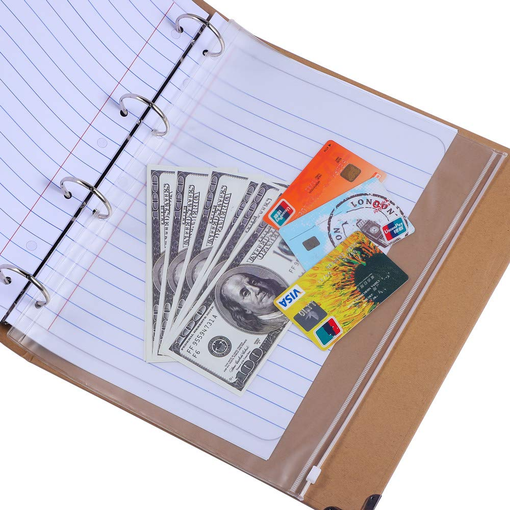Antner 12 Pack Binder Pocket 4 Holes 8.26'' x 11.69'' A4 Size Zipper Folders Provide Long-Term Protection for Documents Pictures by Antner (Image #4)