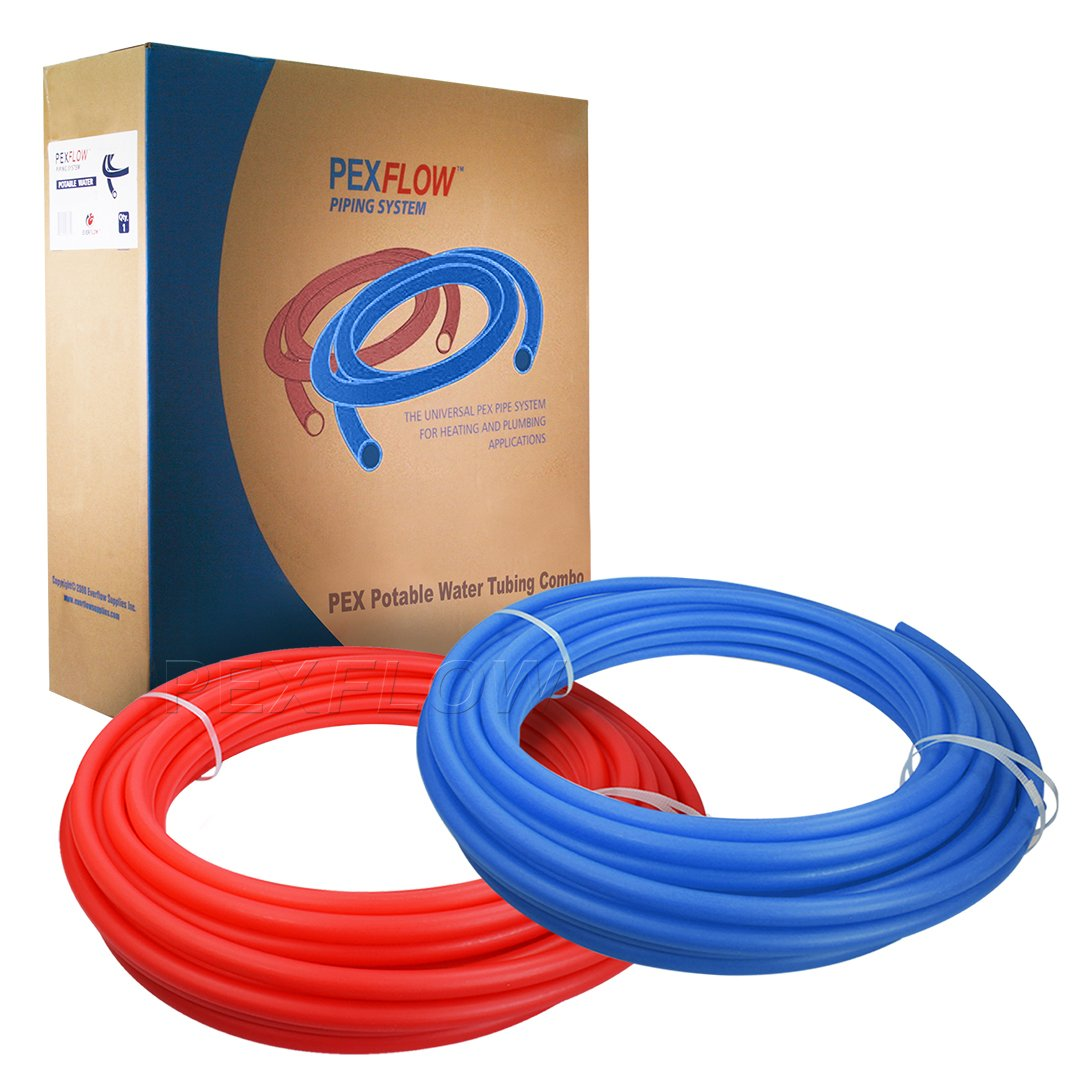 Pexflow PXKT-RB30012 PEX Potable Water Tubing Combo Non-Barrier Pipe for Residential or Commercial, 1/2 Inch x 300 Feet (1 Red + 1 Blue)