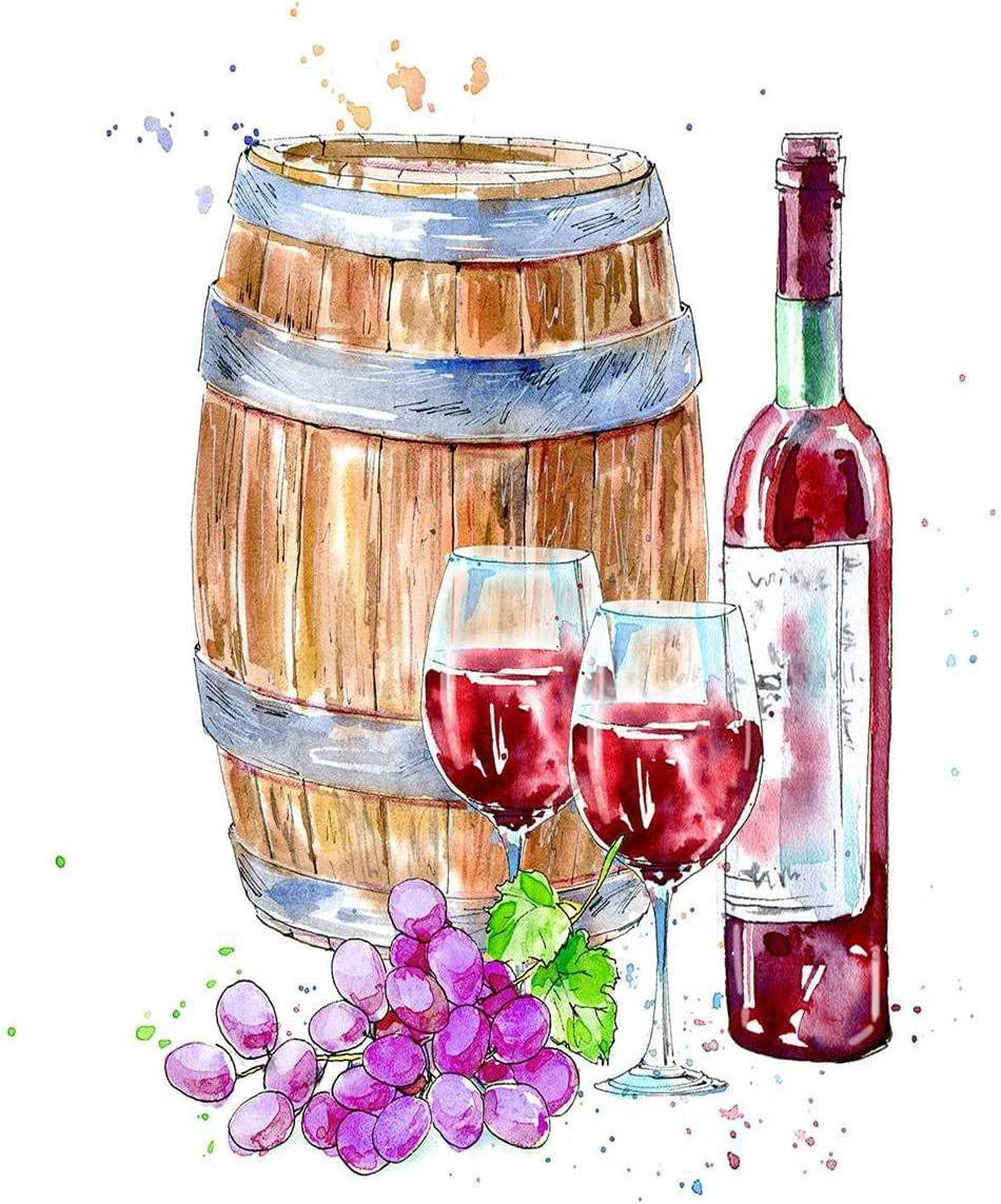Shenywell Poster Wall Art Bottle Red Wine Glasses Wooden Barrel Grapes Alcoholic Drink Beverage White Prints Artwork Unframed Modern Home Decor for Living Dining Dorms Office 18 X 24 Inches
