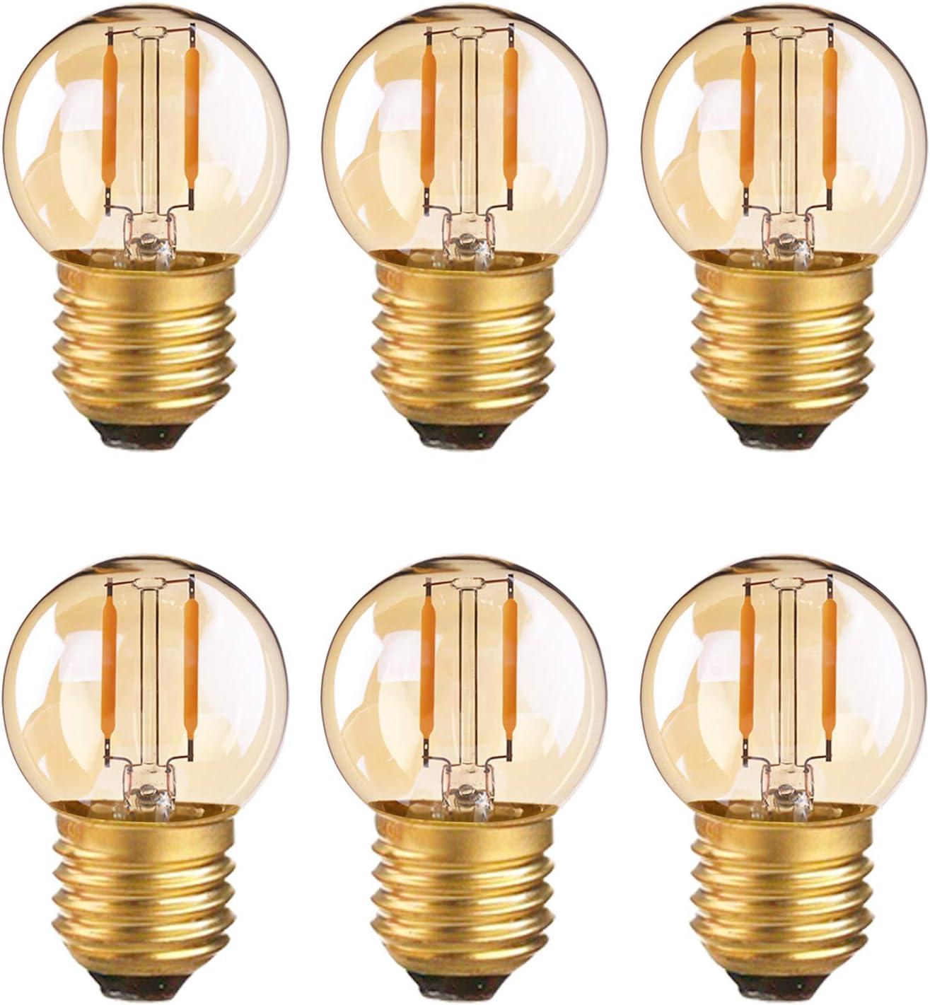 Bombilla de filamento LED G40 Mini Globe Light 1W Low Voltage AC / DC 12-24V Ultra Warm White 2200K Amber Glow 10W Reemplazo equivalente - E27 Bombillas de candelabro - No regulable - Paquete de 6