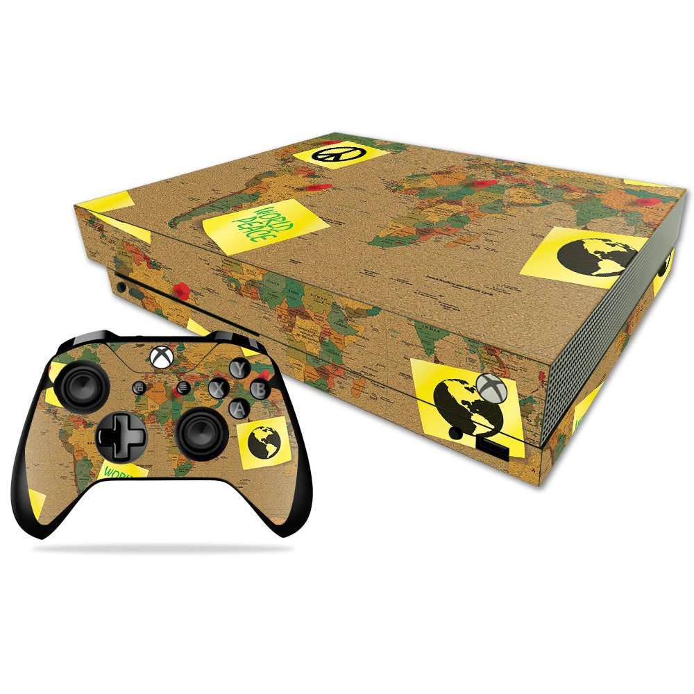 MightySkins Skin for Xbox One X Combo - World Peace | Protective, Durable, and Unique Vinyl Decal wrap Cover | Easy to Apply, Remove, and Change Styles | Made in The USA