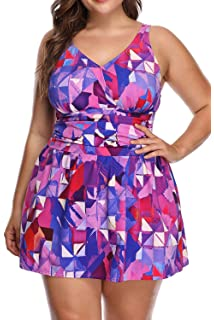 PERONA Plus Size Swimsuit for Women, Tummy Control Swimdress One Piece Swimwear with Flared Skirt