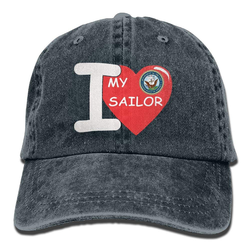 I Love My Sailor Mens Cotton Adjustable Washed Twill Baseball Cap Hat