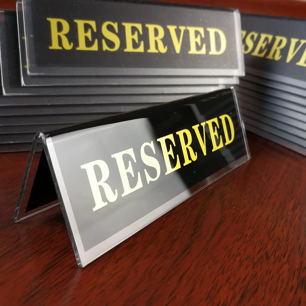 color negro 6pcs earlywish acr/ílico reservado mesa asiento restaurante cartel placa doble cara tienda estilo soporte 4,5/x 1,5/pulgadas