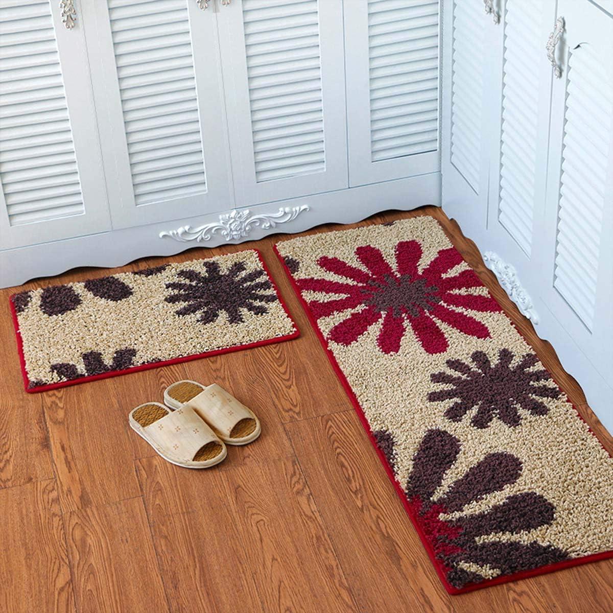 Rose Red 15.7 x 23.6+15.7 X 47 Jizzr 2 Pieces Microfiber Kitchen Floor Mat Set Non-Slip Floral Flower Printed Kitchen Rugs Soft Bathroom Runner Rug Doormat Carpet for Home Decoration