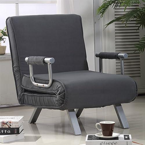 office sleeper sleeper chair homcom single person folding position steel convertible sleeper bed chair grey chair amazoncom