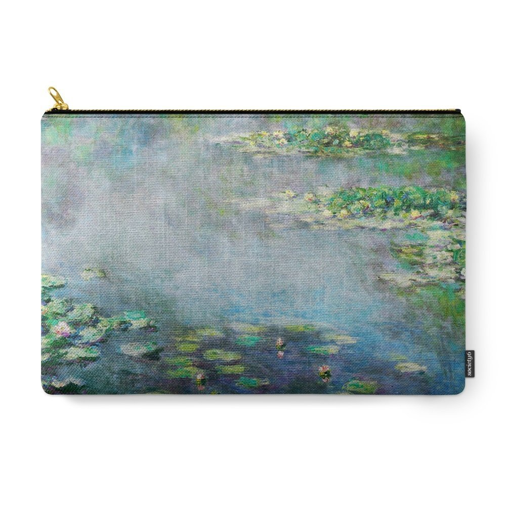 Society6 1906 Waterlily On Canvas. Claude Monet . Vintage Fine Art. Carry-All Pouch Large (12.5'' x 8.5'')