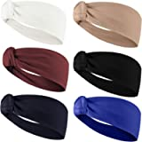 Headbands for Women Multi-Style Hair Wrap for Fitness Sports Running Workout Yoga Wide Stretchy (Color A(6Pack))