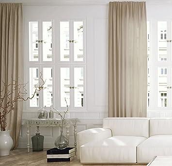 Maison Decor Relic Leinen Gardine Kräuselband 300x5x270 cm beige ...
