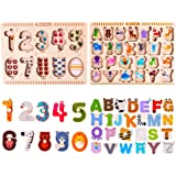 Wooden Alphabet Peg Puzzles Set, ABC Board Blocks, Letters Numbers Knob, Magnetic Jigsaw, Educational, Learning Gift Toys for Age 1, 2, 3, 4, 5 Year Olds Toddlers Baby Boys Girls Kids - iPlay, iLearn