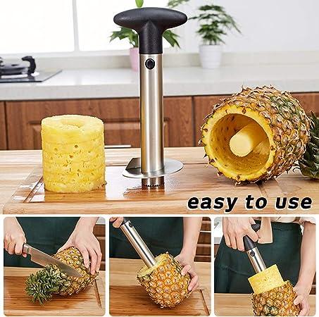 AFUNTA 1 herramienta para remover el n/úcleo de pi/ña y fresa y 1 cortador de fresas