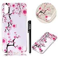 BtDuck Silicone Relief Transparent Shell for Apple iPhone X Chinese Style kung fu Pink Flower Elegant Plum blossom Soft Embossed 3D TPU Gel Minimalism Luxurious Realistic Simple and stylish Clear Cover Anti-slip Skin Suitable for the party Protection Strict Shockproof Heavy Duty Robust Bumper Case Buffer Shell + 1 * Black Stylus Pen Black