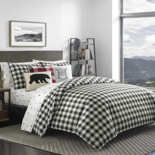 Amazon.com: DP 3pc Black White Plaid Comforter Full Queen Set