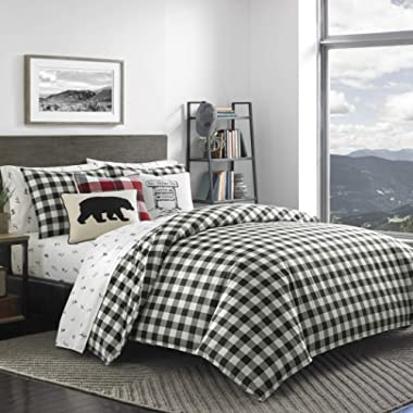 DP 3pc Black White Plaid Comforter Full Queen Set, Cotton, Cabin Themed Bedding Tartan Checkered Pattern Checked Squares Lodge Madras Buffalo Check Classic Cottage Lumberjack