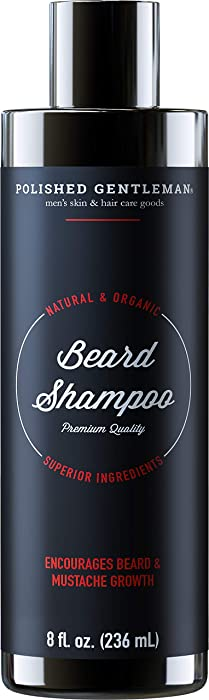 Beard Growth and Thickening Shampoo - with Organic Beard Oil - Beard Grooming kit - for Facial Hair Growth Shampoo - for Younger Looking Beard - (8oz) - Made in USA