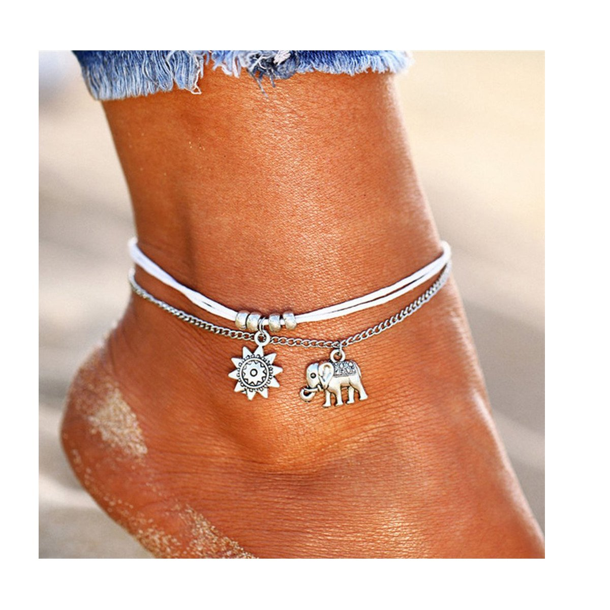 Dolovely 2PCS Boho Beach Layered Rope Anklet Bracelet Handmade Foot Jewelry for Women Teen Girls JL01-US