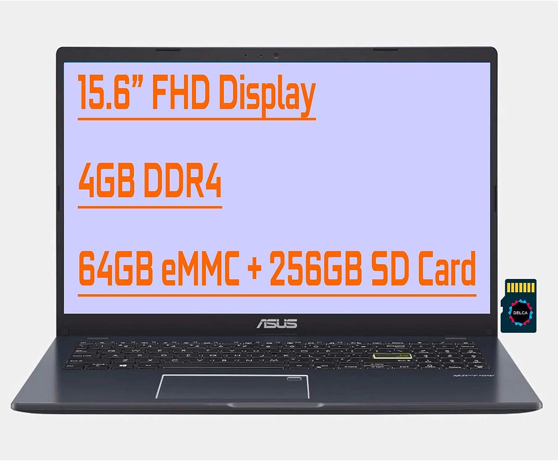 "Asus Vivobook L510 Ultra Thin Premium Business Laptop I 15.6"" FHD Display I Intel Celeron N4020 I 4GB RAM 64GB eMMC + 256GB SD Card I Backlit Fingerprint USB-C HDMI Win10 + Delca 32GB MicroSD Card"