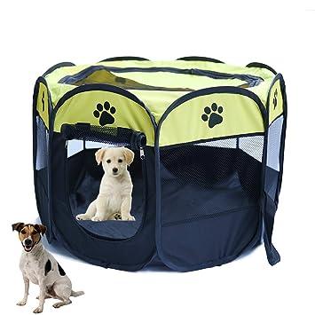 YOUJIA Parque Para Mascotas Plegable 8 Paredes Parque Juego Entrenamiento Dormitorio Perro Cachorros (Amarillo, S)